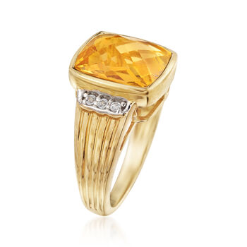 3.80 Carat Citrine and .10 ct. t.w. White Topaz Ring in 14kt Gold Over Sterling. Size 6, , default