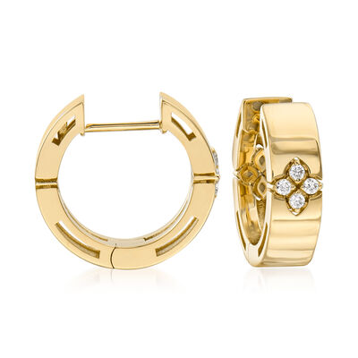 "Roberto Coin ""Love in Verona"" Diamond-Accented Hoop Earrings in 18kt Yellow Gold"