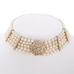 "C. 1980 Vintage 6-6.5mm Cultured Pearl and 5.25 ct. t.w. Diamond Choker Necklace in 18kt Yellow Gold. 15"", , default"