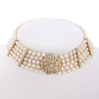 """C. 1980 Vintage 6-6.5mm Cultured Pearl and 5.25 ct. t.w. Diamond Choker Necklace in 18kt Yellow Gold. 15"""", , default"""