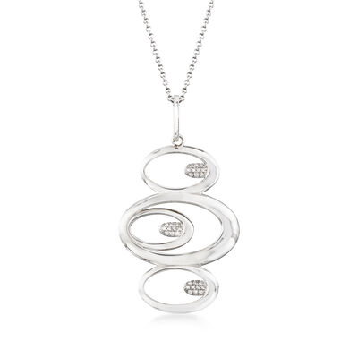 Italian .15 ct. t.w. CZ Oval Pendant Necklace in Sterling Silver, , default