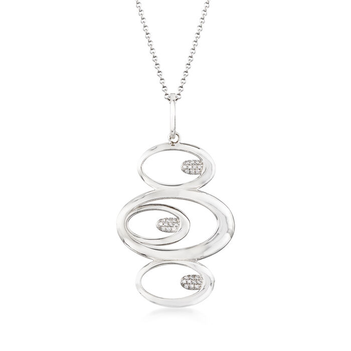 """Italian .15 ct. t.w. CZ Oval Pendant Necklace in Sterling Silver. 16.25"""", , default"""