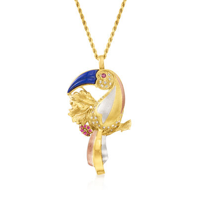 C. 1980 Vintage Lapis and .36 ct. t.w. Diamond Toucan Pin/Pendant Necklace with .31 ct. t.w. Rubies in 18kt Tri-Colored Gold
