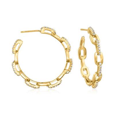 .70 ct. t.w. CZ Paper Clip Link Open-Hoop Earrings in 18kt Gold Over Sterling