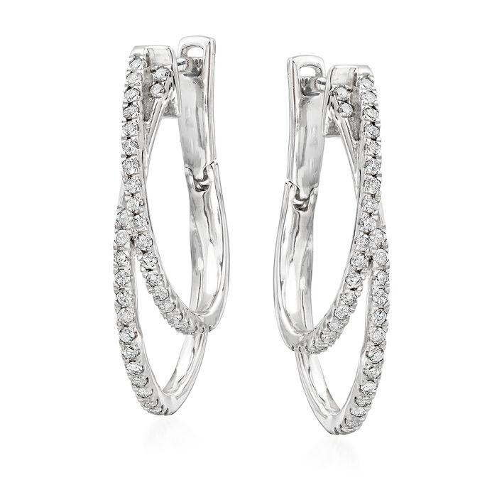 """.50 ct. t.w. Diamond Double-Hoop Earrings in Sterling Silver. 1"""""""