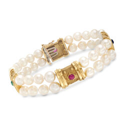 C. 1980 Vintage 6-6.5mm Cultured Pearl and .75 ct. t.w. Multi-Stone Two-Strand Bracelet in 18kt Gold, , default