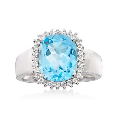 4.10 ct. t.w. Blue and White Topaz Halo Ring in Sterling Silver