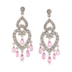 C. 2000 Vintage 4.80 ct. t.w. Pink Sapphire and .85 ct. t.w. Diamond Open-Space Heart Drop Earrings in 18kt White Gold , , default