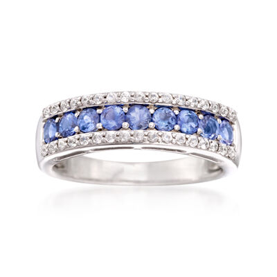 1.00 ct. t.w. Tanzanite and .40 ct. t.w. White Topaz Ring in Sterling Silver, , default