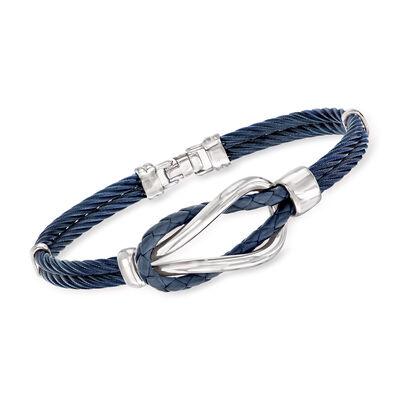 ALOR Men's Blue Stainless Steel Cable Knot Bracelet, , default