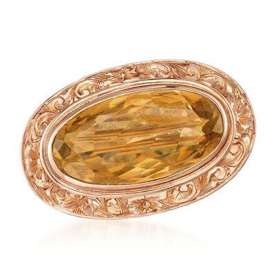 C. 1950 Vintage 7.85 ct. t.w. Citrine Pin in 14kt Yellow Gold, , default