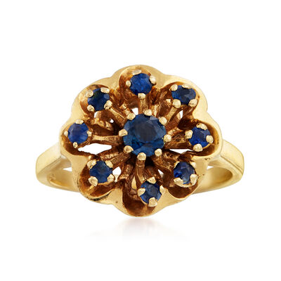 C. 1960 Vintage .80 ct. t.w. Sapphire Flower Ring in 14kt Yellow Gold, , default