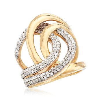 1.00 ct. t.w. Diamond Interlocking Loop Ring in 18kt Gold Over Sterling. Size 5, , default