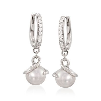 Mikimoto 7mm Akoya Pearl and .14 ct. t.w. Pave Diamond Drop Earrings in 18kt White Gold, , default