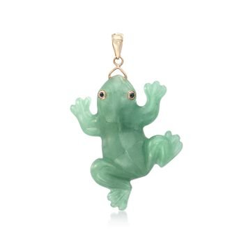 Carved Green Jade Frog Pendant With Sapphires in 14kt Yellow Gold, , default