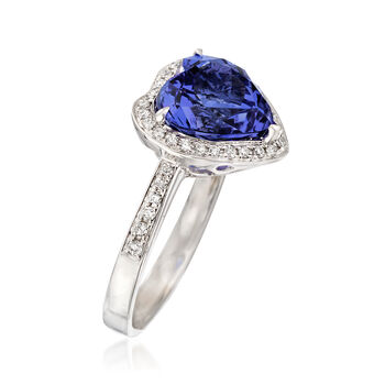 3.50 Carat Tanzanite and .23 ct. t.w. Diamond Heart Ring in 14kt White Gold, , default