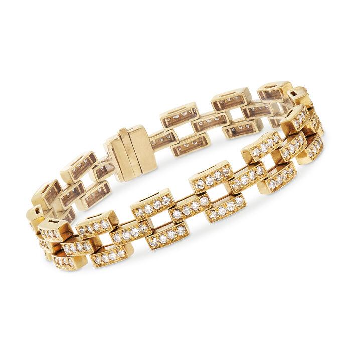 "C. 1980 Vintage 5.00 ct. t.w. Diamond Link Bracelet in 18kt Yellow Gold. 7.25"""