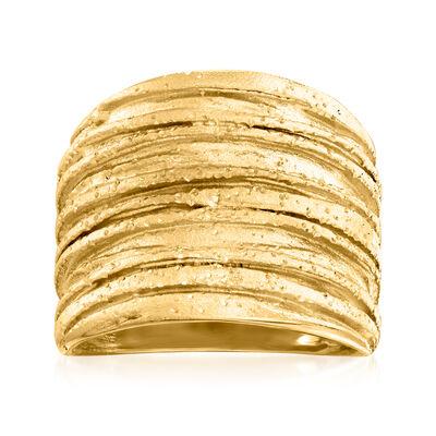 18kt Gold Over Sterling Sparkle Tree Bark Ring