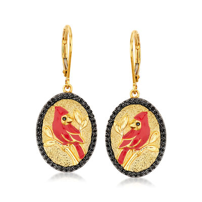.40 ct. t.w. Black Spinel and Red Enamel Cardinal Drop Earrings in 18kt Gold Over Sterling