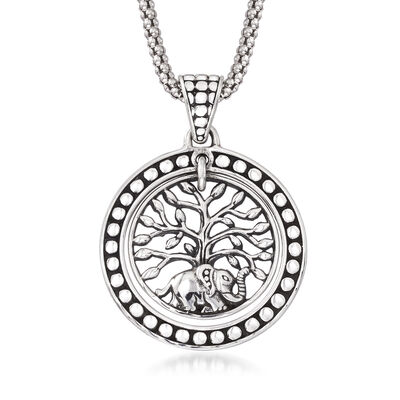 Sterling Silver Bali-Style Elephant and Tree of Life Pendant Necklace
