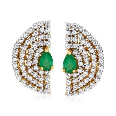 1.82 ct. t.w. White Zircon and .80 ct. t.w. Emerald Fan Stud Earrings in 18kt Gold Over Sterling
