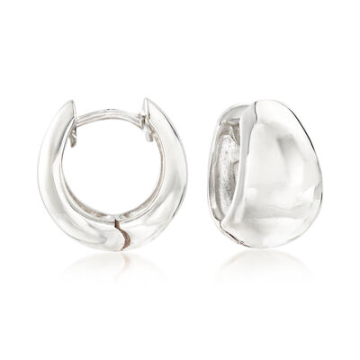 Zina Sterling Silver Tapered Hoop Earrings, , default