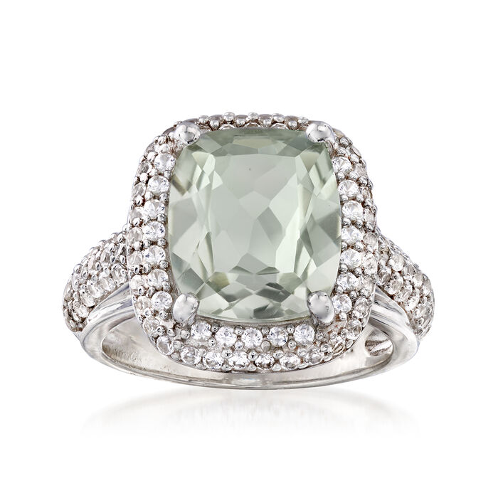 5.00 Carat Green Prasiolite and 1.00 ct. t.w. White Sapphire Ring in Sterling Silver