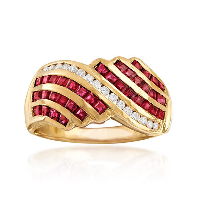 C. 1980 Vintage 1.80 ct. t.w. Ruby and .25 ct. t.w. Diamond Ring in 18kt Yellow Gold, , default
