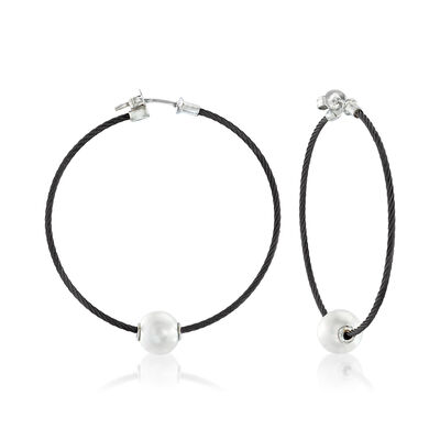 "ALOR ""Classique"" 8mm Cultured Pearl and Black Stainless Steel Cable Hoop Earrings with 18kt White Gold, , default"