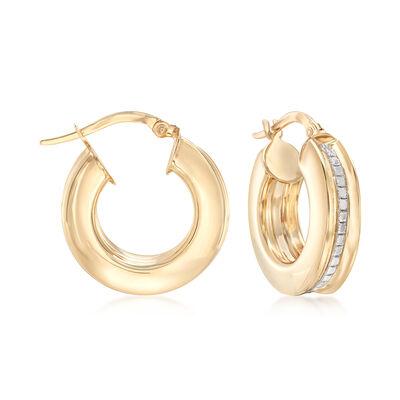 Italian Glitter Hoop Earrings in 14kt Yellow Gold, , default