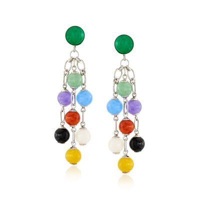 Multicolored Jade Drop Earrings in Sterling Silver, , default