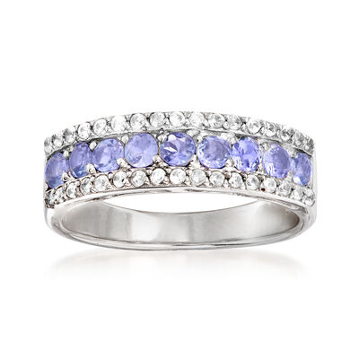 1.00 ct. t.w. Tanzanite and .40 ct. t.w. White Topaz Ring in Sterling Silver
