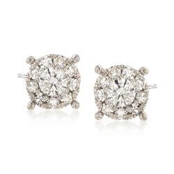 C. 2000 Vintage .50 ct. t.w. Diamond Cluster Earrings in 18kt White Gold , , default