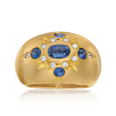Mazza 1.33 ct. t.w. Sapphire Ring with Diamond Accents in 14kt Yellow Gold
