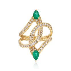 .70 ct. t.w. Emerald and .88 ct. t.w. Diamond Curves Ring in 18kt Yellow Gold, , default