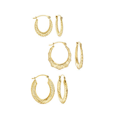 14kt Yellow Gold Jewelry Set: Three Pairs of Hoop Earrings, , default