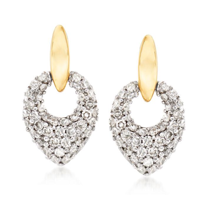 .39 ct. t.w. Diamond Doorknocker Drop Earrings in 14kt Two-Tone Gold