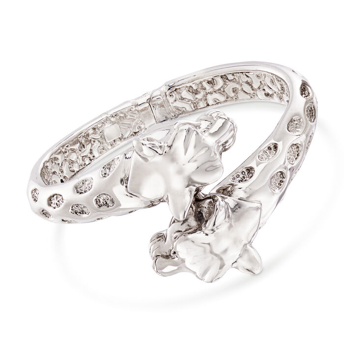 Italian Leopard Bypass Bangle Bracelet in Sterling Silver, , default