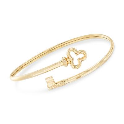 14kt Yellow Gold Key Bypass Bangle Bracelet, , default