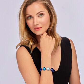 """Italian Blue Murano Bead Bracelet in Sterling Silver. 7"""", , default"""