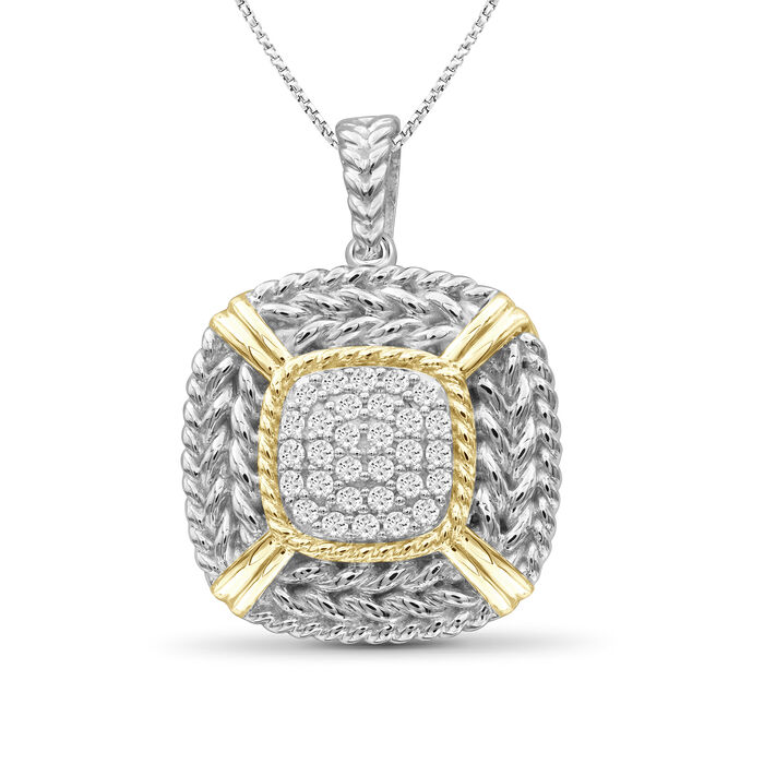 """.25 ct. t.w. Diamond Cluster and Roped Frame Necklace in Two-Tone Sterling. 18"""""""