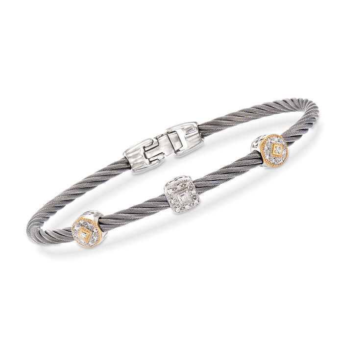 """ALOR """"Shades of Alor"""" .14 ct. t.w. Diamond Gray Carnation Cable Station Bracelet in Stainless Steel and 18kt Yellow and White Gold. 7"""", , default"""
