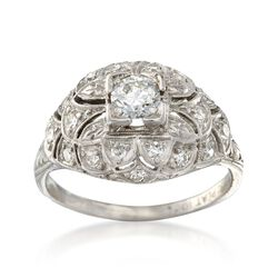 C. 1920 Vintage .65 ct. t.w. Diamond Dome Ring in Platinum. Size 6.5, , default