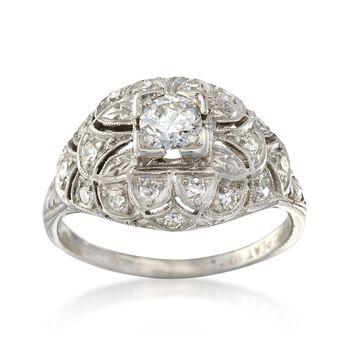 C. 1920 Vintage .65 ct. t.w. Diamond Dome Ring in Platinum. Size 6.5, , default