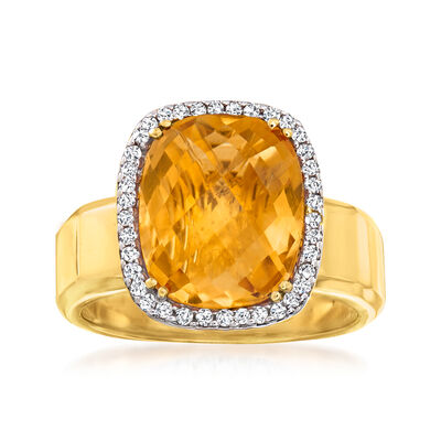 5.00 Carat Citrine and .20 ct. t.w. Diamond Ring in 14kt Yellow Gold