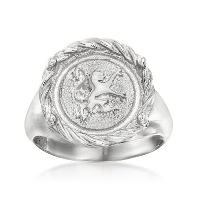 Italian Sterling Silver Circle-Top Gryphon Ring, , default