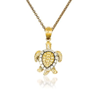 14kt Two-Tone Gold Turtle Pendant Necklace, , default