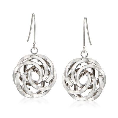 Sterling Silver Rosette Drop Earrings, , default
