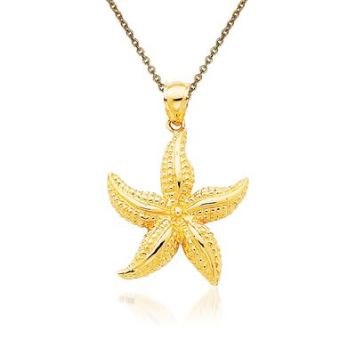 14kt Yellow Gold Starfish Pendant Necklace, , default