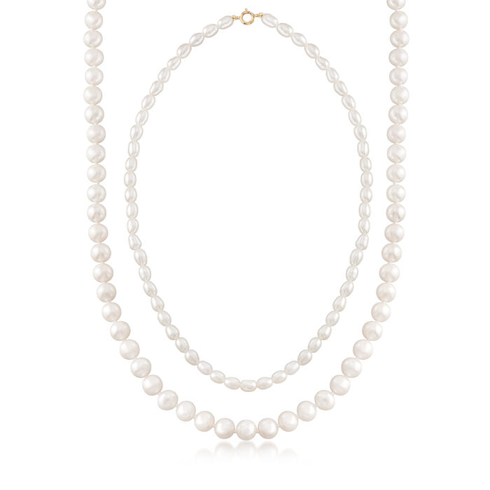 """Mom & Me 4-7mm Cultured Pearl Necklace Set of Two in 14kt Yellow Gold. 13""""-18"""""""